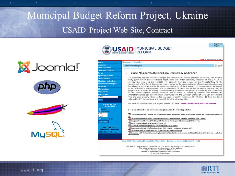 Municipal Budget Reform Project, Ukraine USAID Project Web Site, Contract