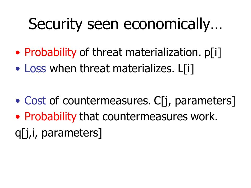 Example Probability of threat materialization.