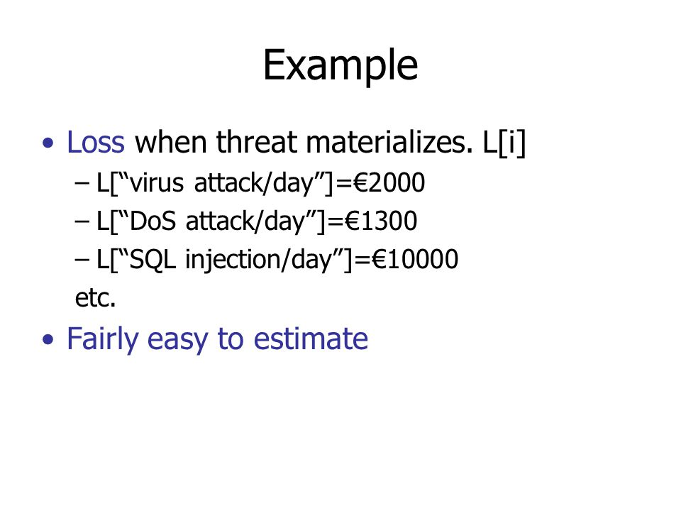 Example Loss when threat materializes.