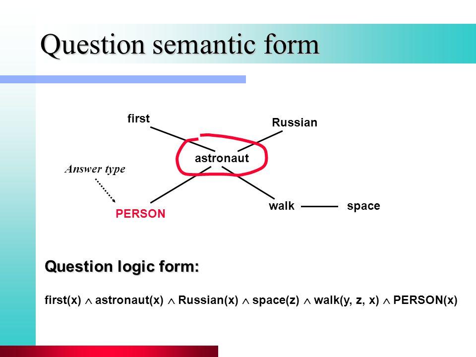 Question semantic form astronaut walkspace Russian first PERSON first(x)  astronaut(x)  Russian(x)  space(z)  walk(y, z, x)  PERSON(x) Question logic form: Answer type