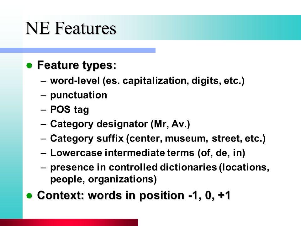 NE Features Feature types: Feature types: –word-level (es. capitalization, digits, etc.) –punctuation –POS tag –Category designator (Mr, Av.) –Categor