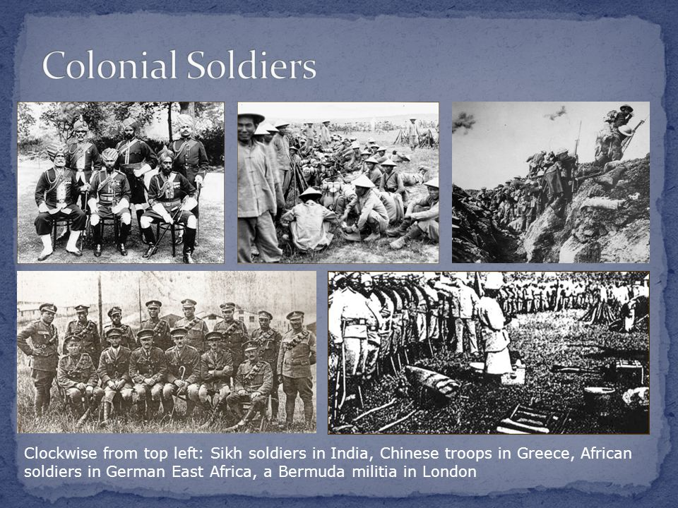 Clockwise from top left: Sikh soldiers in India, Chinese troops in Greece, African soldiers in German East Africa, a Bermuda militia in London