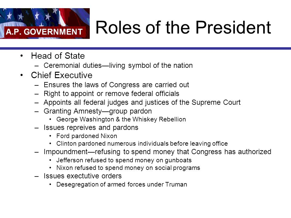 Roles of the President Head of State –Ceremonial duties—living symbol of the nation Chief Executive –Ensures the laws of Congress are carried out –Rig
