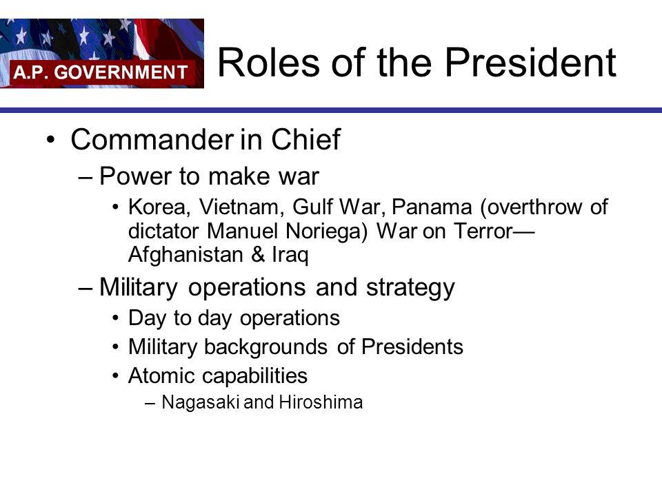 Roles of the President Commander in Chief –Power to make war Korea, Vietnam, Gulf War, Panama (overthrow of dictator Manuel Noriega) War on Terror— Af