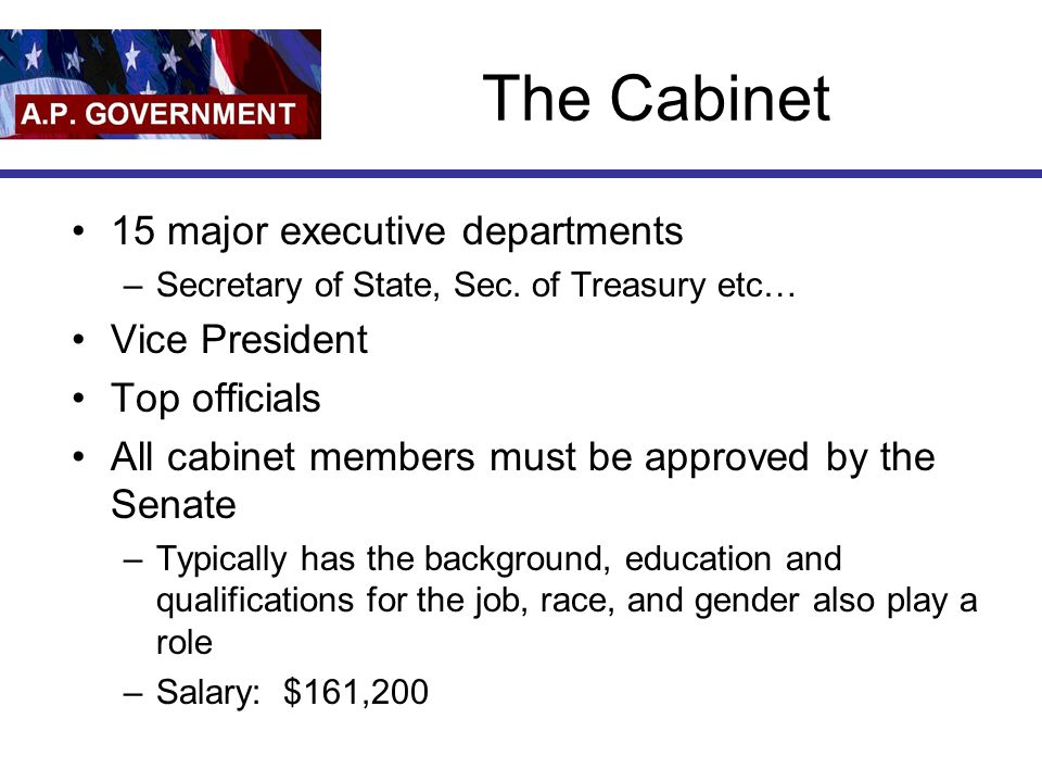 The Cabinet 15 major executive departments –Secretary of State, Sec. of Treasury etc… Vice President Top officials All cabinet members must be approve