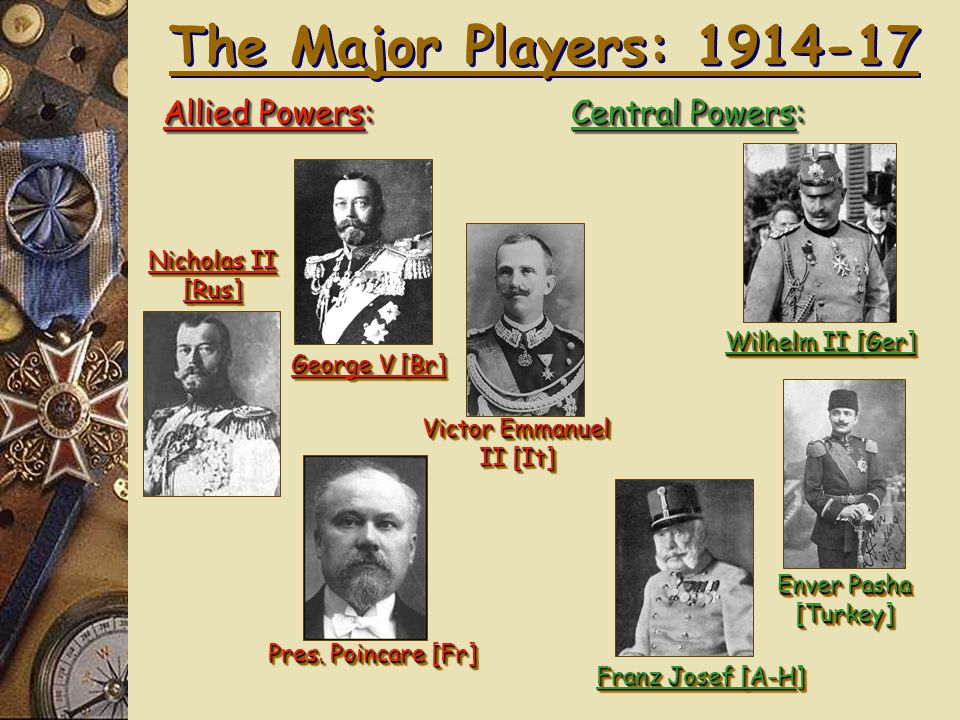 1. Alliances! Allied Powers: Central Powers: