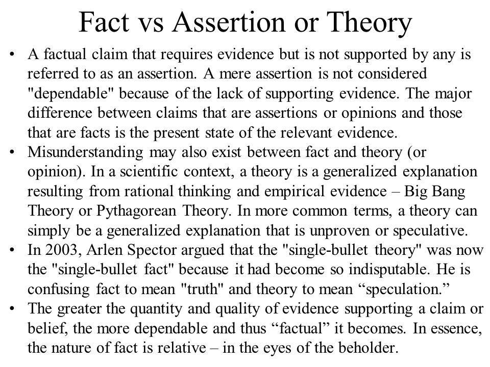 Fact vs Assertion or Theory A factual claim that requires evidence but is not supported by any is referred to as an assertion.