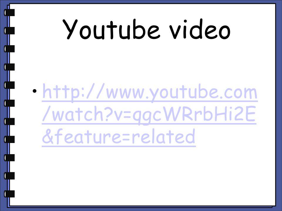 Youtube video http://www.youtube.com /watch?v=qgcWRrbHi2E &feature=relatedhttp://www.youtube.com /watch?v=qgcWRrbHi2E &feature=related