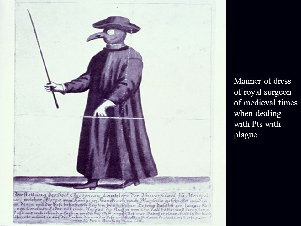 Manner of dress of royal surgeon of medieval times when dealing with Pts with plague