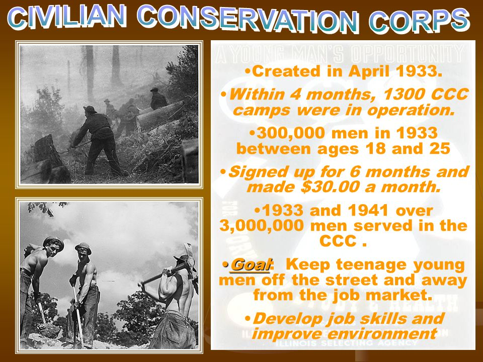 CCC Created in April 1933. Within 4 months, 1300 CCC camps were in operation.