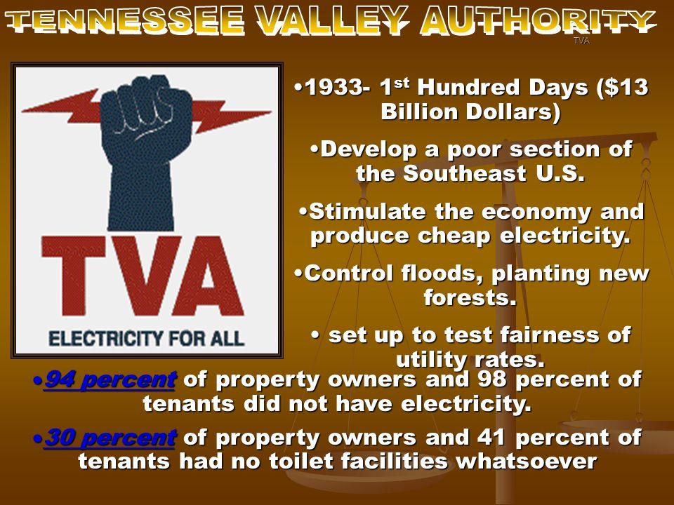 1933- 1 st Hundred Days ($13 Billion Dollars)1933- 1 st Hundred Days ($13 Billion Dollars) Develop a poor section of the Southeast U.S.Develop a poor section of the Southeast U.S.