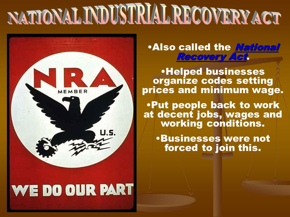 National Recovery ActAlso called the National Recovery Act. Helped businesses organize codes setting prices and minimum wage. Put people back to work