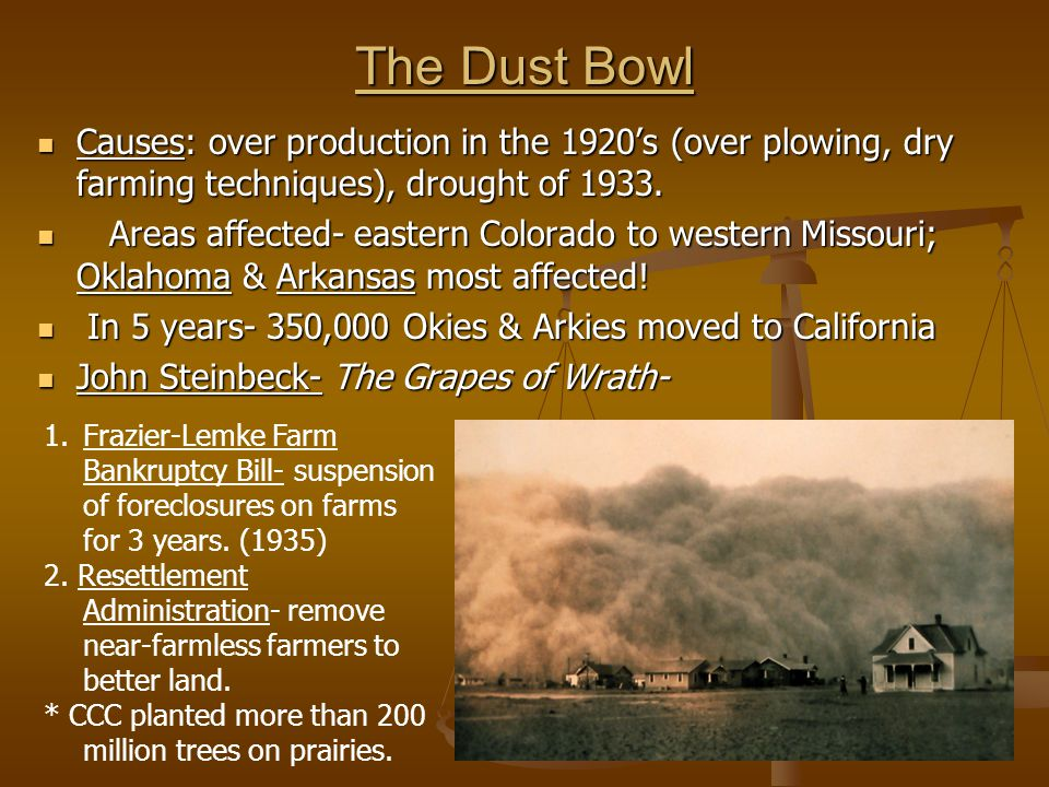 The Dust Bowl Causes: over production in the 1920's (over plowing, dry farming techniques), drought of 1933. Causes: over production in the 1920's (ov