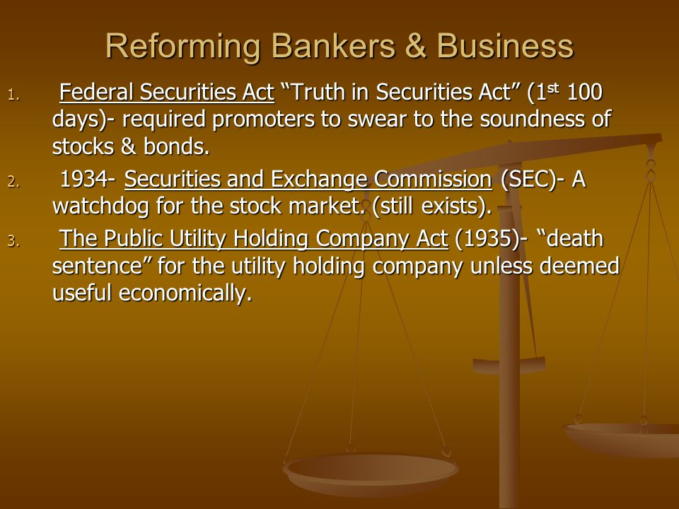 Reforming Bankers & Business 1.