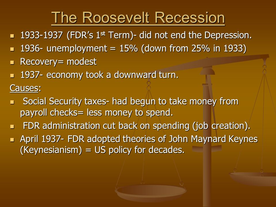 The Roosevelt Recession 1933-1937 (FDR's 1 st Term)- did not end the Depression.