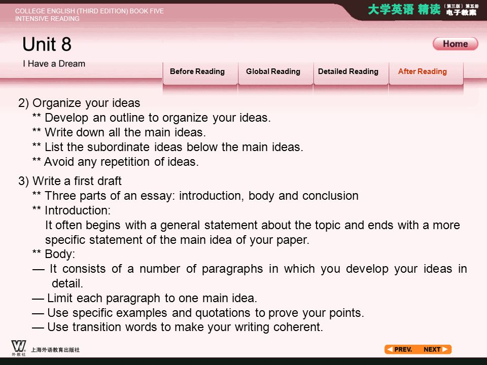 After Reading_4.2 Before ReadingGlobal ReadingDetailed ReadingAfter Reading 3) Write a first draft ** Three parts of an essay: introduction, body and conclusion ** Introduction: It often begins with a general statement about the topic and ends with a more specific statement of the main idea of your paper.