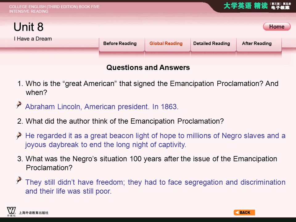 Global Reading_2 1. Who is the great American that signed the Emancipation Proclamation.