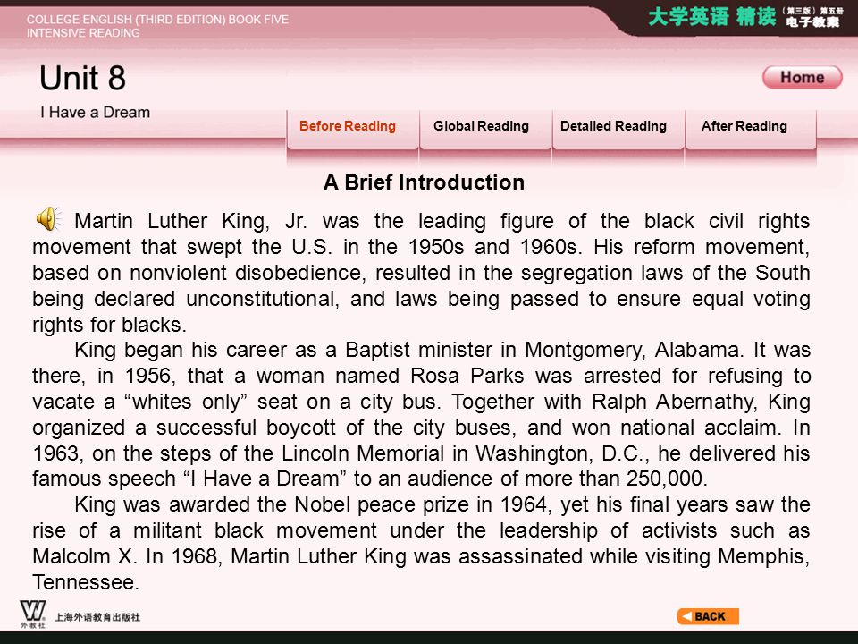 Before Reading_1.2.1 Before ReadingGlobal ReadingDetailed ReadingAfter Reading Chronology of Martin Luther King TimeEvent January 15, 1929Born in Atlanta, Georgia, son of a Baptist minister.
