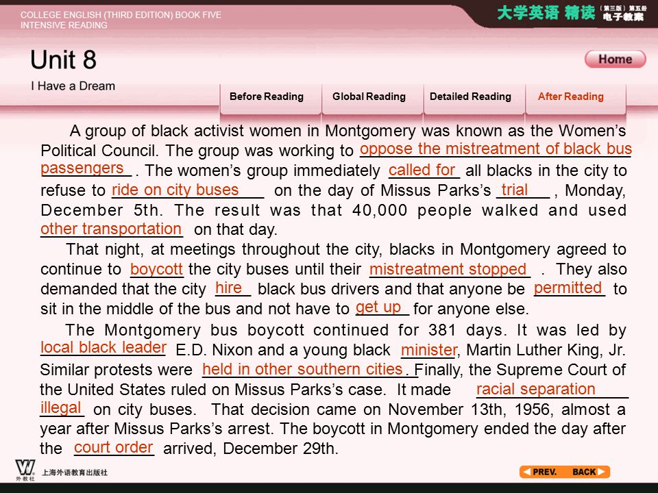 After Reading_2.2 Before ReadingGlobal ReadingDetailed ReadingAfter Reading A group of black activist women in Montgomery was known as the Women's Political Council.