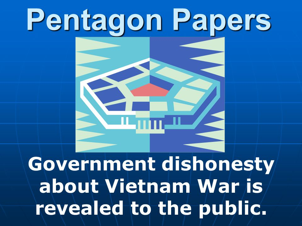 Pentagon Papers Government dishonesty about Vietnam War is revealed to the public.