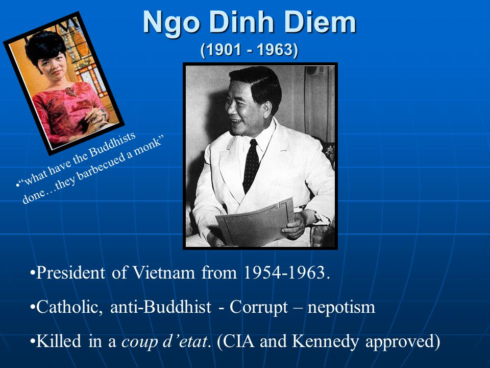Ngo Dinh Diem (1901 - 1963) President of Vietnam from 1954-1963. Catholic, anti-Buddhist - Corrupt – nepotism Killed in a coup d'etat. (CIA and Kenned