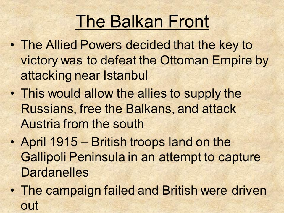 The Eastern Front Lack of supplies and modern technology caused Russia enormous defeats to the Germans and Austrians 25% of Russian troops were without weapons and instructed to take them from dead comrades By 1917, morale of troops and country were at an all time low – Russia was ripe for a revolution Vladimir Lenin led the Bolsheviks in overthrowing Tsar Nicholas as ruler of Russia Brest-Litovsk Treaty signed with revolutionary government in Russia (1917) – lost ¼ of country