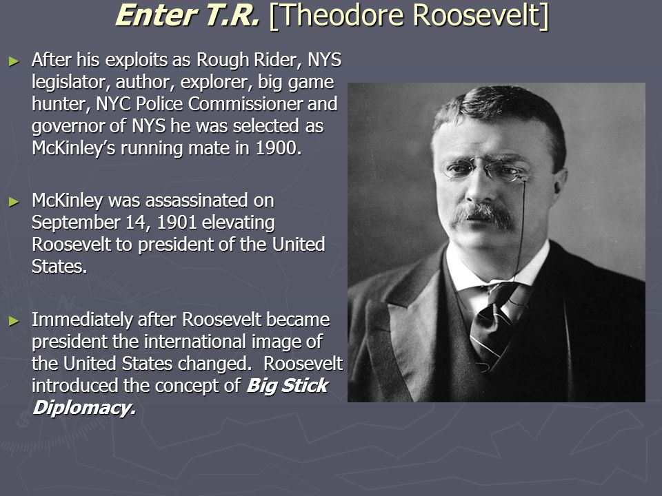 Enter T.R. [Theodore Roosevelt] ► After his exploits as Rough Rider, NYS legislator, author, explorer, big game hunter, NYC Police Commissioner and go