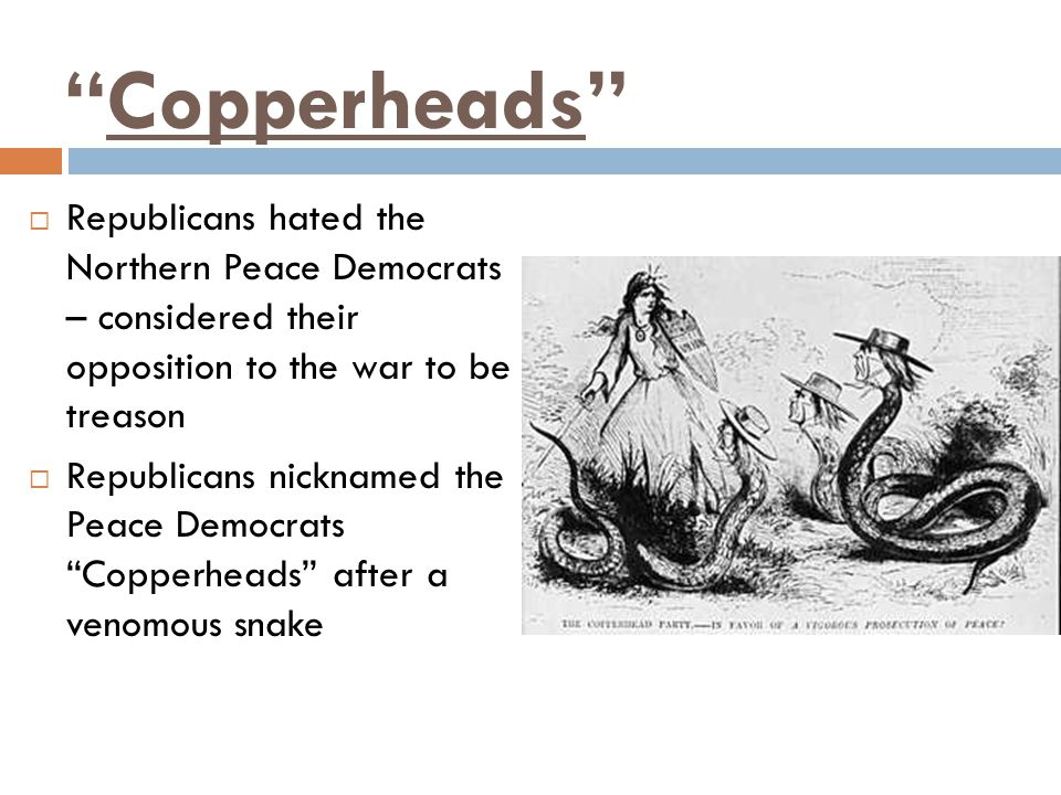 Copperheads  Republicans hated the Northern Peace Democrats – considered their opposition to the war to be treason  Republicans nicknamed the Peace Democrats Copperheads after a venomous snake