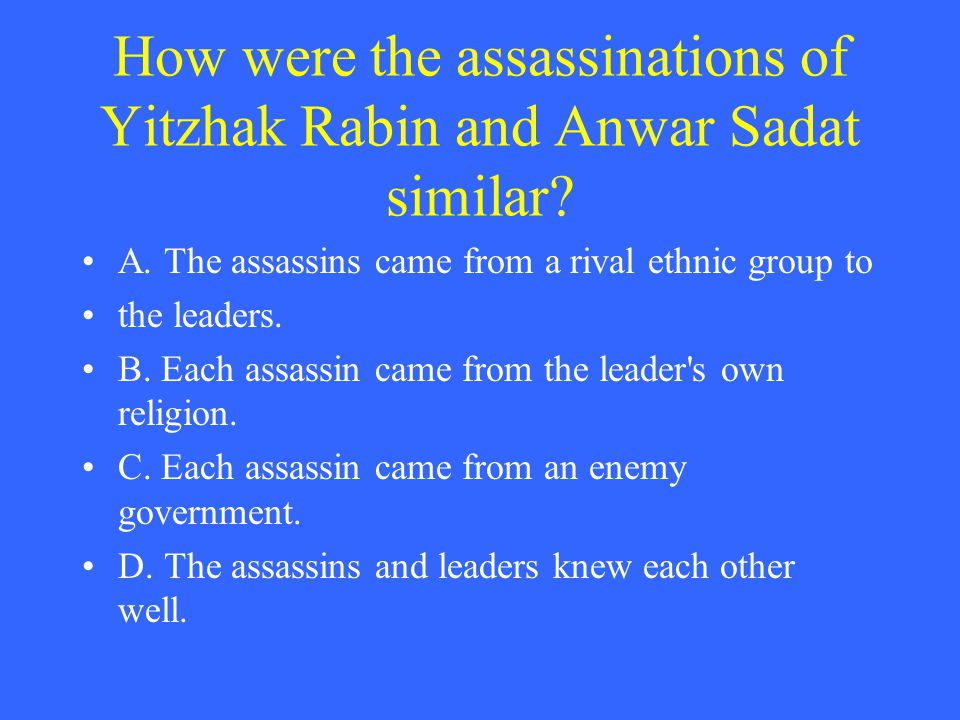How were the assassinations of Yitzhak Rabin and Anwar Sadat similar.