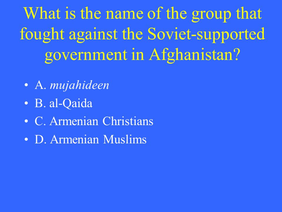 What is the name of the group that fought against the Soviet-supported government in Afghanistan? A. mujahideen B. al-Qaida C. Armenian Christians D.