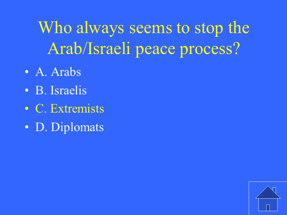 Who always seems to stop the Arab/Israeli peace process.