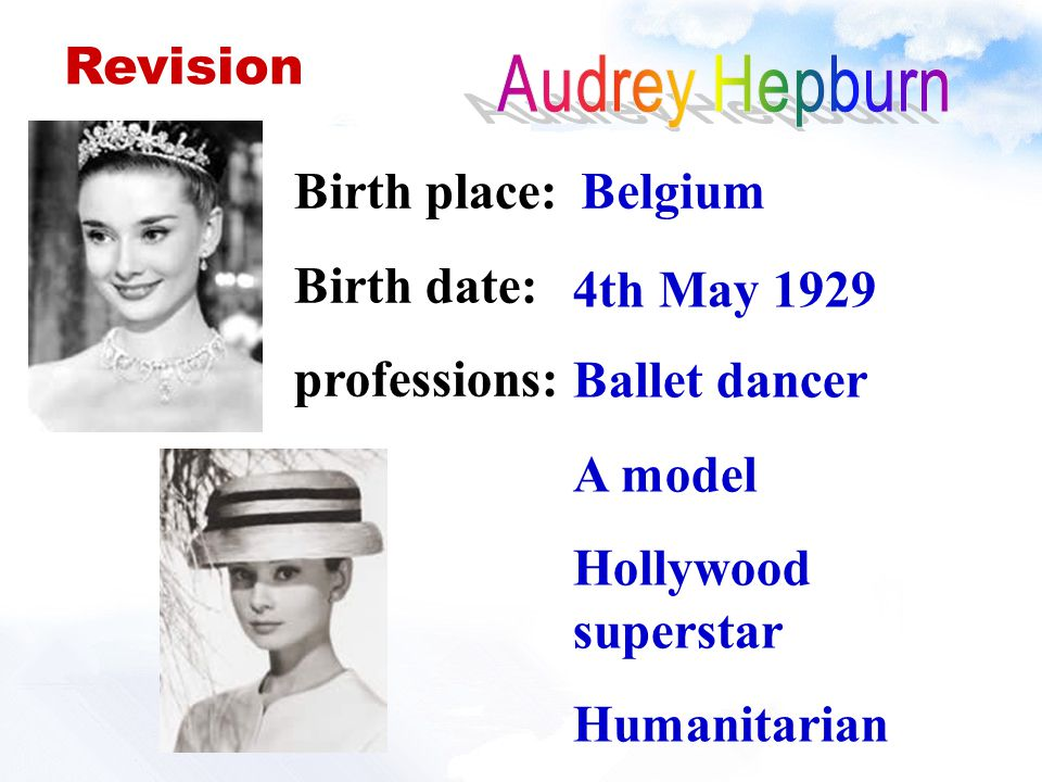 Birth place: Birth date: professions: Belgium 4th May 1929 Ballet dancer A model Hollywood superstar Humanitarian Revision