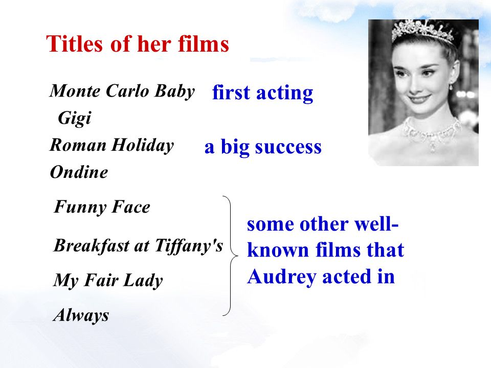 Titles of her films Monte Carlo Baby Gigi Roman Holiday Ondine Funny Face Breakfast at Tiffany s My Fair Lady Always first acting a big success some other well- known films that Audrey acted in