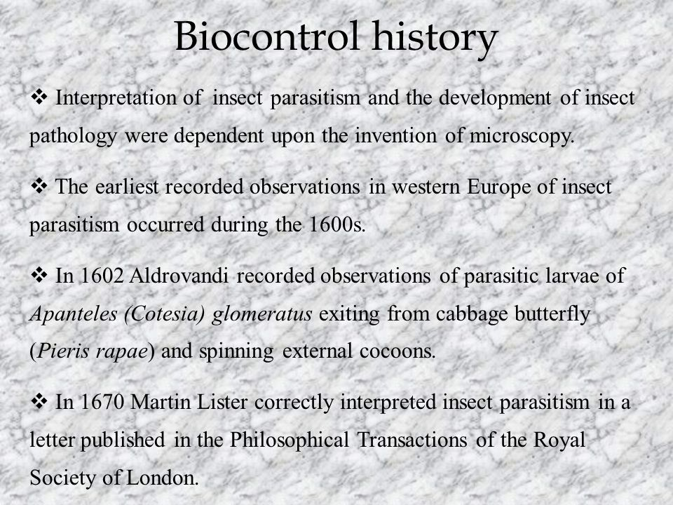 Biocontrol history  Interpretation of insect parasitism and the development of insect pathology were dependent upon the invention of microscopy.  Th
