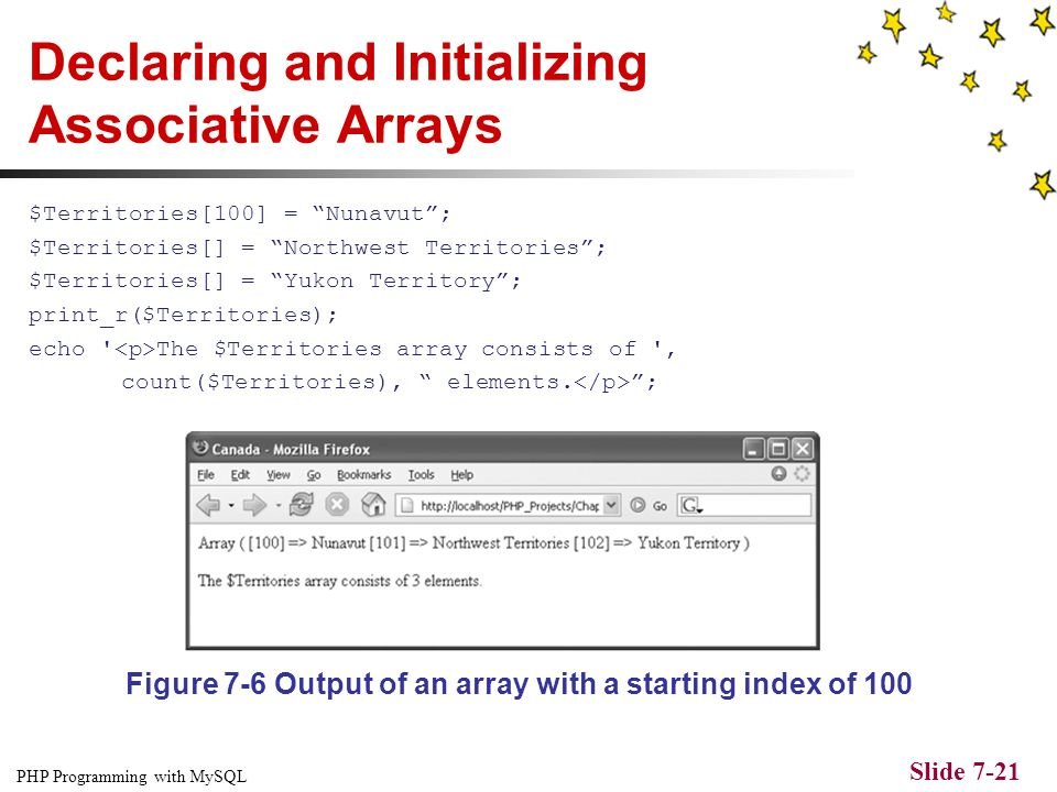 PHP Programming with MySQL Slide 7-20 Declaring and Initializing Associative Arrays With associative arrays, you specify an element's key by using the