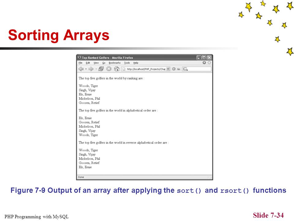 PHP Programming with MySQL Slide 7-33 Sorting Arrays Table 7-2 Array sorting functions (continued) If the sort() and rsort() functions are used on an