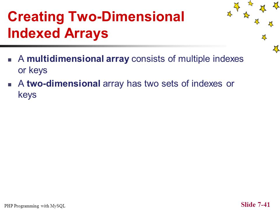 PHP Programming with MySQL Slide 7-40 Comparing Arrays Figure 7-13 Output of an array created with the array_intersect() function