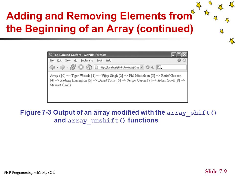 "PHP Programming with MySQL Slide 7-8 Adding and Removing Elements from the Beginning of an Array $TopGolfers = array( ""Ernie Els"", ""Phil Mickelson"", """