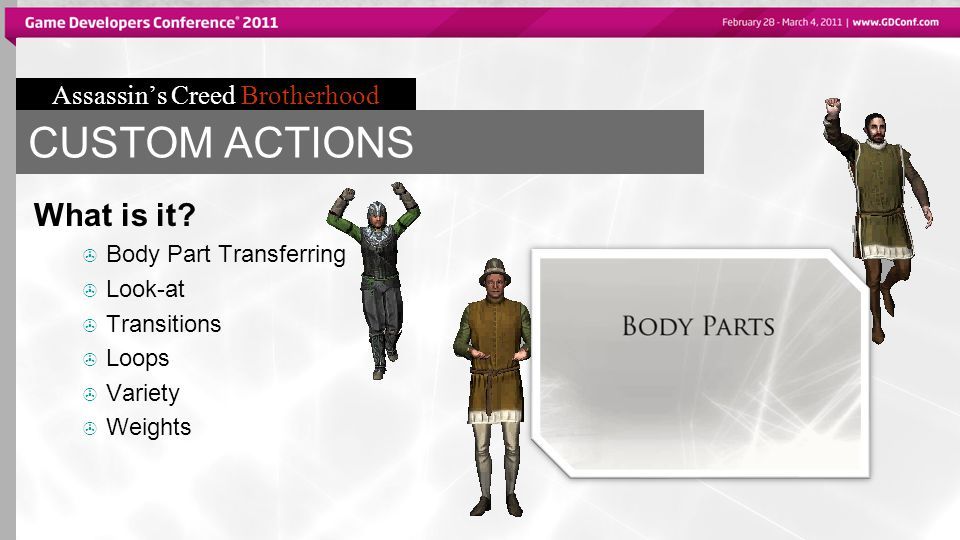 Assassin's Creed Brotherhood CUSTOM ACTIONS What is it?  Body Part Transferring  Look-at  Transitions  Loops  Variety  Weights