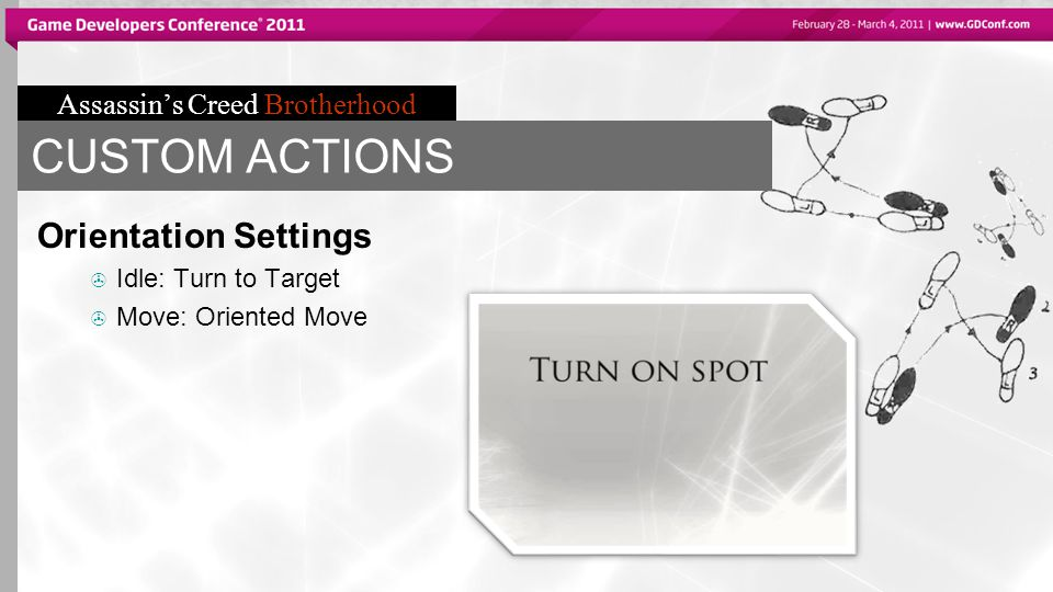 Assassin's Creed Brotherhood CUSTOM ACTIONS Orientation Settings  Idle: Turn to Target  Move: Oriented Move