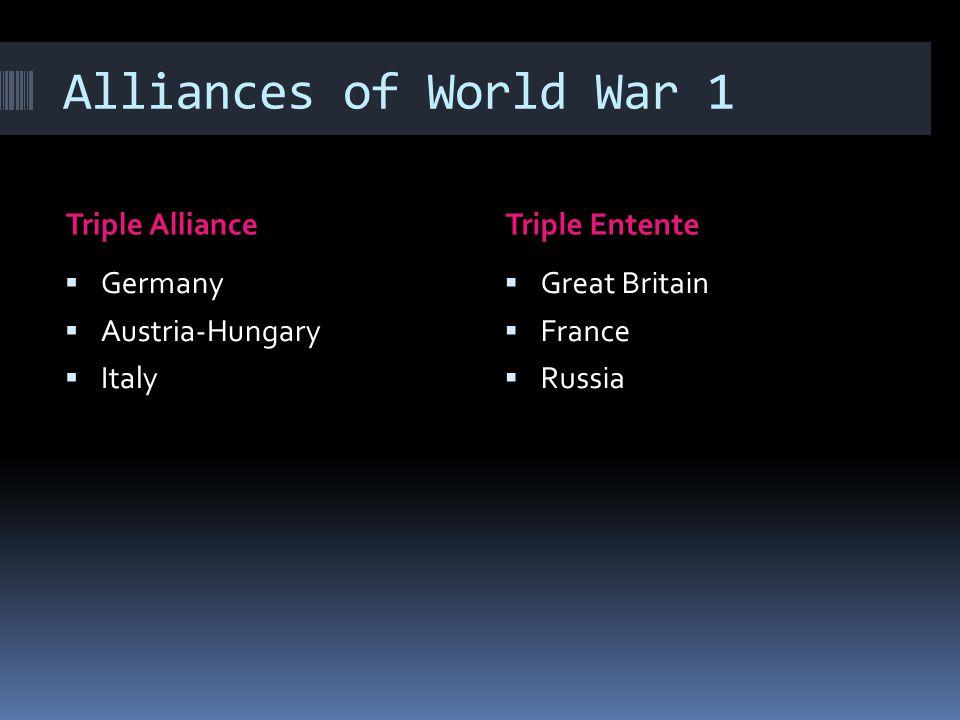 Alliances of World War 1 Triple AllianceTriple Entente  Germany  Austria-Hungary  Italy  Great Britain  France  Russia
