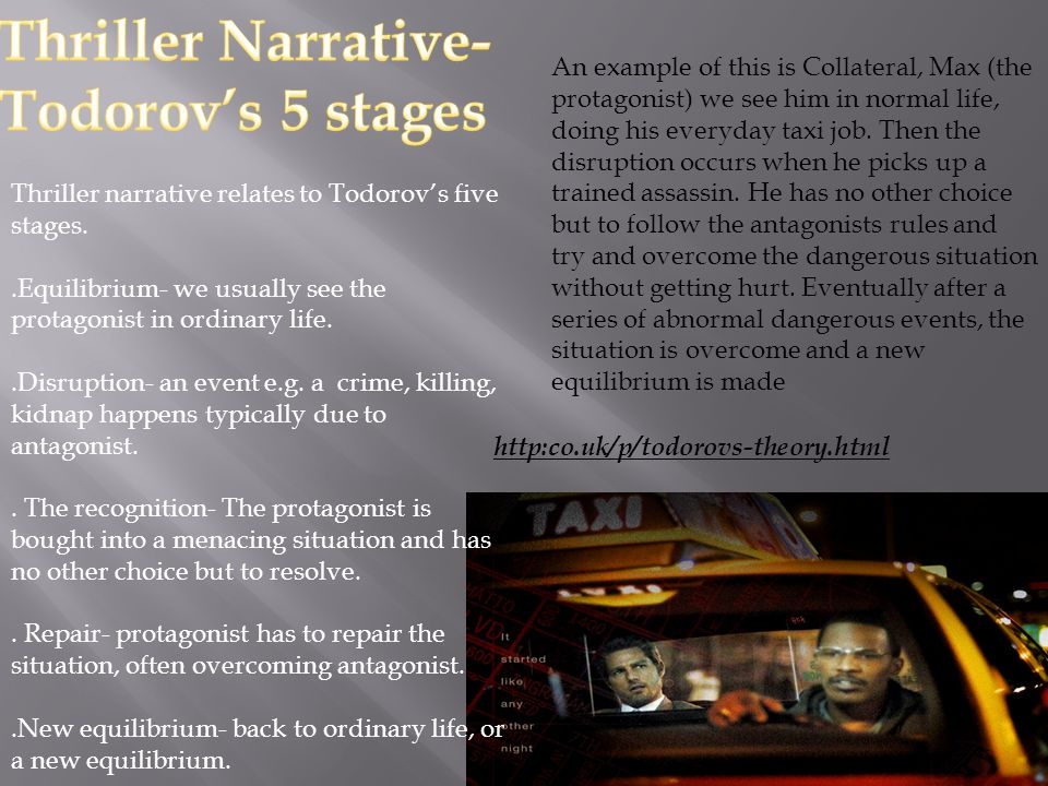 Thriller narrative relates to Todorov's five stages..Equilibrium- we usually see the protagonist in ordinary life..Disruption- an event e.g.