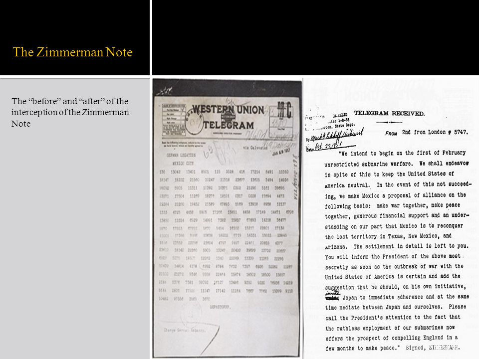 """The Zimmerman Note The """"before"""" and """"after"""" of the interception of the Zimmerman Note"""