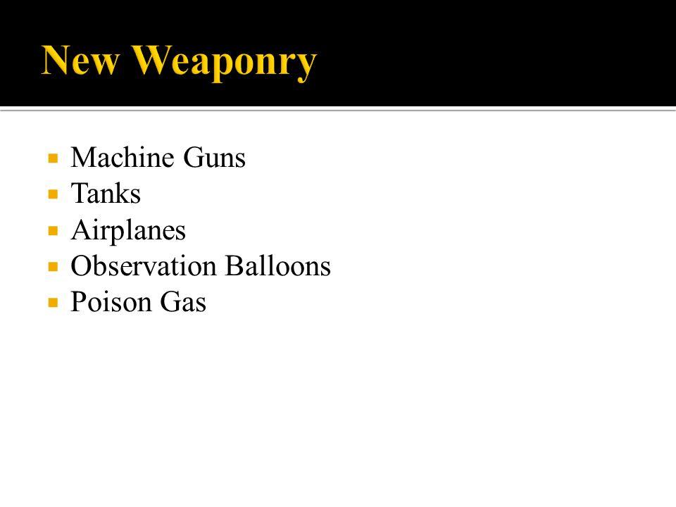  Machine Guns  Tanks  Airplanes  Observation Balloons  Poison Gas