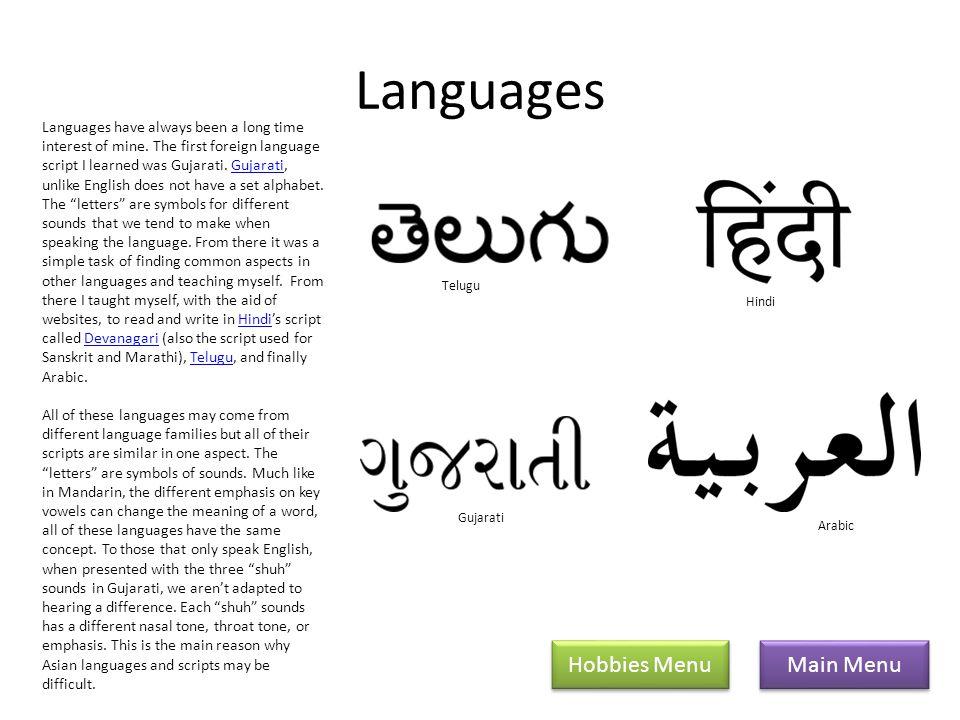 Languages Main Menu Hobbies Menu Languages have always been a long time interest of mine.