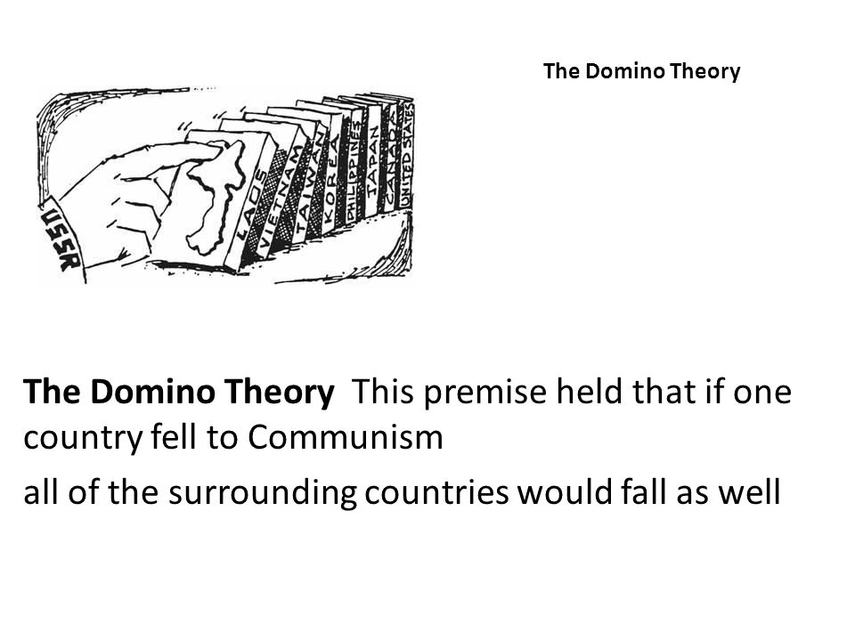 The Domino Theory The Domino Theory This premise held that if one country fell to Communism all of the surrounding countries would fall as well