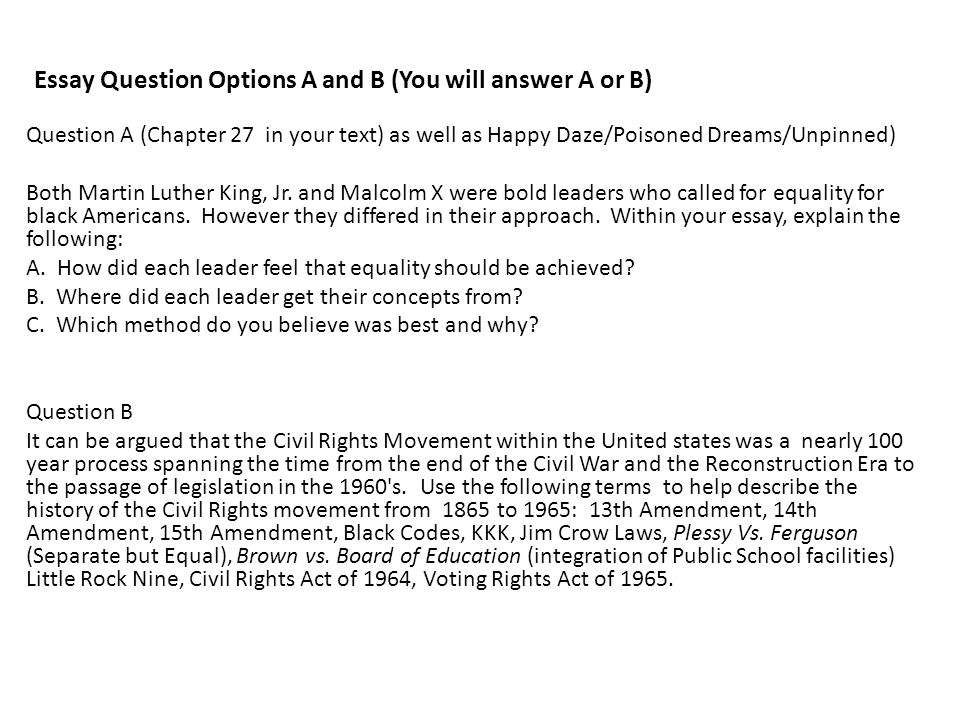 Essay Question Options A and B (You will answer A or B) Question A (Chapter 27 in your text) as well as Happy Daze/Poisoned Dreams/Unpinned) Both Mart