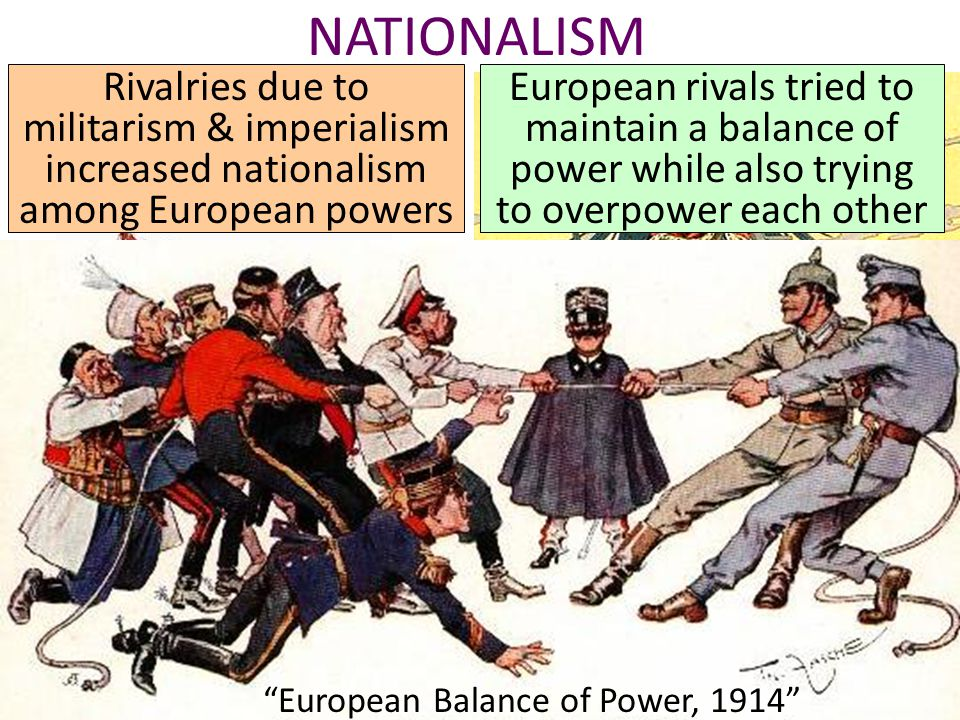 NATIONALISM Austrian national poster, 1900 Rivalries due to militarism & imperialism increased nationalism among European powers British propaganda poster, 1897 European rivals tried to maintain a balance of power while also trying to overpower each other European Balance of Power, 1914