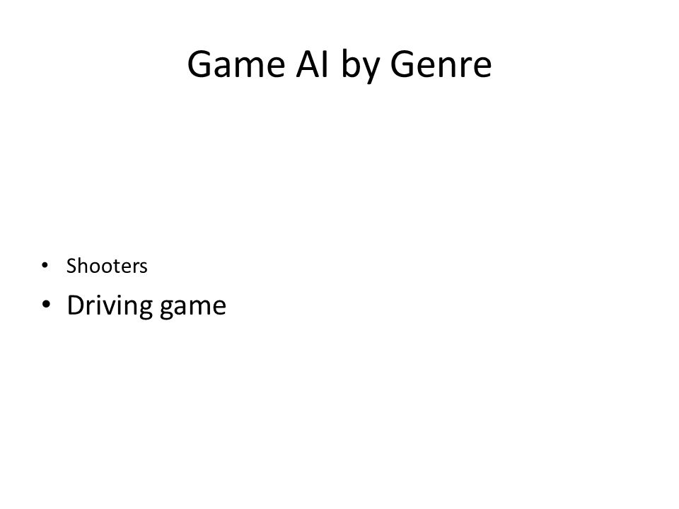 Game AI by Genre Shooters Driving game
