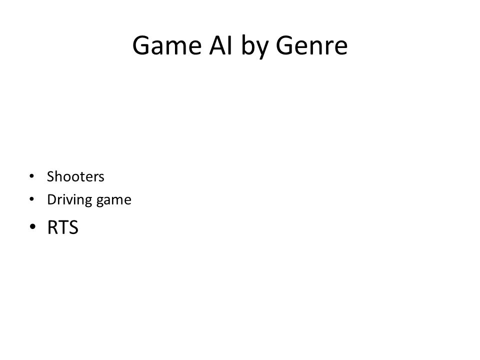 Game AI by Genre Shooters Driving game RTS